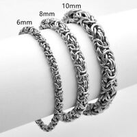 6/8/10mm High Quality Stainless Steel Silver Byzantine Chain Men Jewely Bracelet