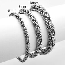 6/8/10mm High Quality Stainless Steel Silver Byzantine Chain Men/Women Bracelet