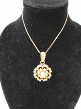 Sterling Silver Rose Gold Tone Art Deco Style Created Pearl Necklace By Simon *