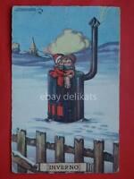 SGRILLI vecchia cartolina old postcard INVERNO bambini