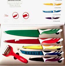 Set 6 piezas 5 cuchillos inox cubiertos de ceramica suizos con pelador colores