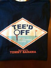 NEW TOMMY BAHAMA CREW NECK T SHIRT TEE'D OFF ANGER MANAGEMENT GOLF BLUE NAVY L