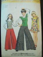 Vintage Simplicity Pattern 5763 Wide Leg Pants Skirt Top Cut Size 10 circa 1970s