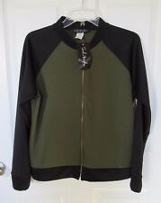 French Atmosphere Olive Green Black Two Tone Zip-Up Jacket Large NWT
