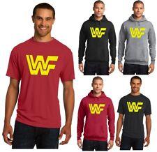 New WWF Vintage Logo Men's Tee T-Shirt or Hoodie Yellow WWE WCW ECW Old School