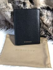 NWT Burberry Crossgrain LEATHER PASSPORT HOLDER WALLET In Black