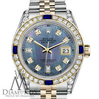Rolex SS & 18k 26mm Datejust Watch Tahitian MOP Dial with Sapphire & Diamond