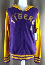 LSU Louisiana State University Tigers Purple Gold Full Zip Hoodie Jacket Large