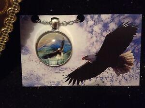 Necklace - Silver Tone Cabochon - Eagle - Eagle in Flight