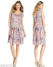 JONES NEW YORK $134 Multi Satin Sleeveless Pleated Lined Casual Dress 16 QCO