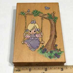 Precious Moments GIRL ON TREE SWING WARMEST THOUGHTS Rubber Stamp Stampendous