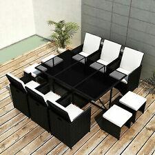 vidaXL 42598 11 Piece Outdoor Dining Set with Cushions - Black