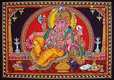 "Cotton Fabric Ganesh / Ganesha / Ganpati Yoga Tapestry 30"" X 43"" India, New, Fre"