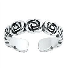 Rose Design Toe Ring Face Height: 4 mm Sterling Silver 925 USA Seller