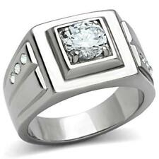 Simulated Moissanite Ring Size 10 Men'S Platinum/Steel Alloy 1.68 Carat Gleaming