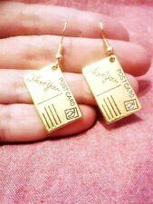 QUIRKY GOLDEN POSTCARD CHARM EARRINGS BOHO KITSCH RETRO VINTAGE FUN & FUNKY