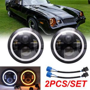 "Pair 7"" Inch LED Headlight HI/LO Fit for Jeep TJ CJ-8 Chevrolet Camaro 1967-1981"