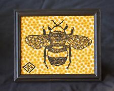Honey Bee - Hand printed linocut in black on Yellow Liberty Fabric. 10x8""