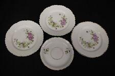 "4pc Vintage KPM White Porcelain Pink Floral Gold Trim 7"" Plates, Saucer, Germany"