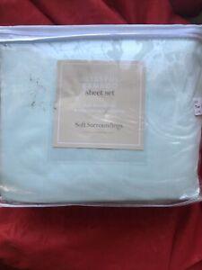 Soft Surroundings Blissful Bamboo Sheet Set Soft Aqua King Orig. $229