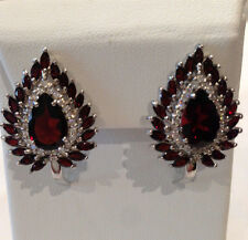 """55 CTS!! SUBLIME!! NATURAL AAA RICH RED GARNET 925 SILVER EARRINGS 1"""""""