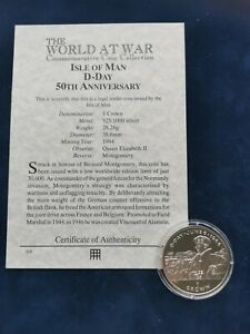 925/1000 Silver Proof 1 Crown Coin 1994 D-Day Montgonery Isle of Man with COA