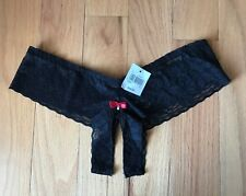Frederick's of Hollywood Black Sheer Lace Crotchless Panties Red Bow S/M