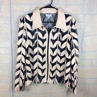 Stillman Studio Womens Size XL Jacket Genuine Leather Leaf Embossed Zip Up Sheer