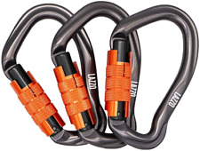 LAZZO 3 Pack Twist Lock Climbing Carabiner Clips, Auto Locking and Heavy Duty, D