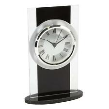 20cm Modern Black and Silver Glass Tall Mantel Clock Roman Numerals Contemporary