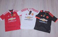 Set of 3 KIDS shirts football Manchester United 15/16 shirt YOUTH S BNWT Adidas