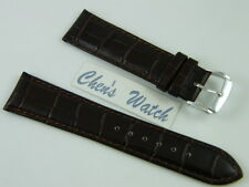 HQ 23MM DARK BROWN ITALY LEATHER WATCH BAND 23 MM STRAP w/20MM SILVER CLASP