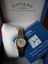LADYS GOLD PLATED ROTARY WATCH ON BRACELET BRAND NEW IN BOX WITH 2 YEAR GUARANTE
