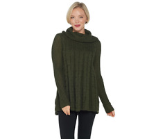 Denim & Co. Regular Cable Knit Cowl-Neck Tunic Sweater, True Olive, XL