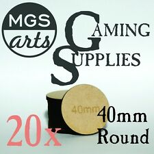 20x 40mm Laser Cut MDF Miniature Bases FREE US SHIPPING!!
