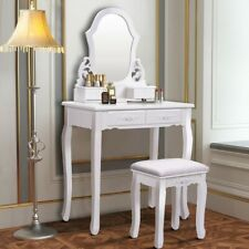 Vanity Makeup Dressing Table With A Mirror And 4 Drawers