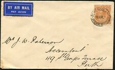 Nov.1933 usage of 5d Chestnut KGV single franking on commercial airmail cover