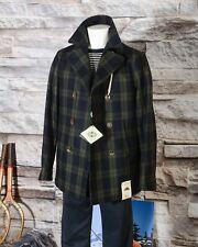 Peacoat Camplin a quadri verdi-blu - Giacca-Cappotto uomo doppiopetto in lana