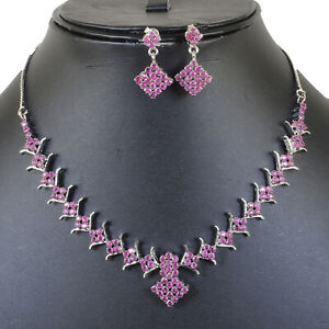 Natural Ruby Certified Necklace + Earrings Set Sparkling Red Rubies 925 Silver