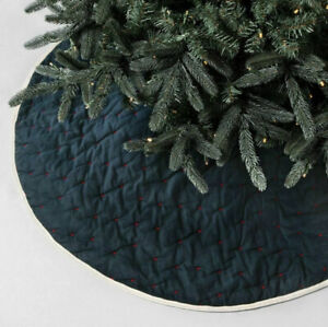 Hearth & Hand  Magnolia TREE SKIRT REVERSIBLE EMBROIDERED STARS / PLAID NAVY RED