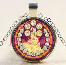 Princess Belle Stained Cabochon Tibetan silver Glass Chain Pendant Necklace#2672