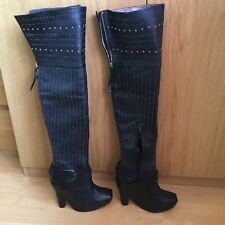 SAM EDELMAN ZALE LEATHER OVERKNEE STUDDED BOOTS SIZE US8,5 UK6,EU39