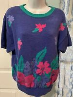 RUSS Vintage Women's Floral Sweater Knit Short Sleeve Size Medium Crew Neck