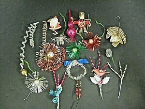 Lot antique Victorian feather tree Christmas ornament lot glass tree topper lot