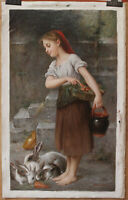 "Repro Emile munier-portrait girl museum quality oil painting on canvas 24""x41"""