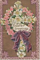 Postcard 1909 Embossed Easter Greetings Flowers Bouquet Day Lilies Pink Peruvian