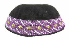Yamaka Kippah Knit Crochet Black Purple Band Jewish Cap