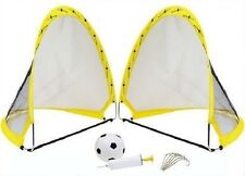 Instant Pop Up Portable Football Soccer Goals Nets, Ball, Pump & Pegs Kids Child