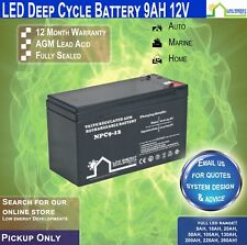 9AH AGM Battery Deep Cycle, 12V Ideal for camping, caravans, RVs, Buses etc ec