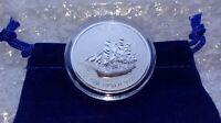 2019 1oz Fine Silver .9999 Cook Islands Silver Coin wBlue Velvet Pouch & Capsule